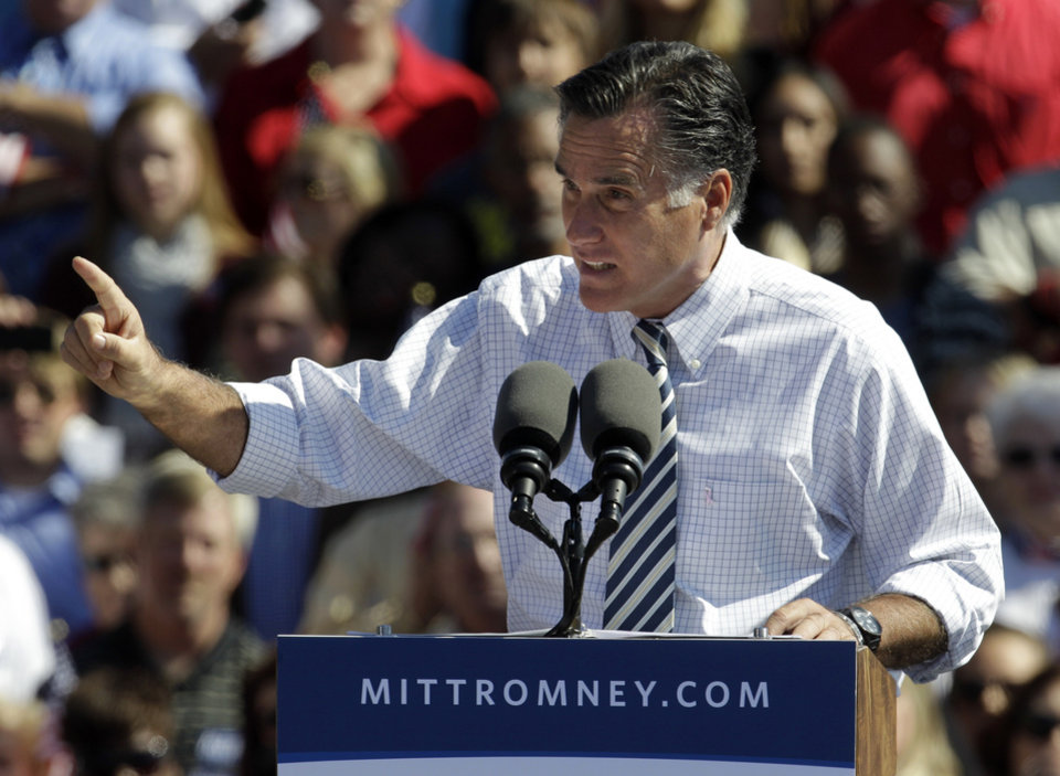 Republican presidential candidate, former Massachusetts Gov. Mitt Romney gestures during a rally in Richmond, Va., Friday, Oct. 12, 2012. (AP Photo/Steve Helber)