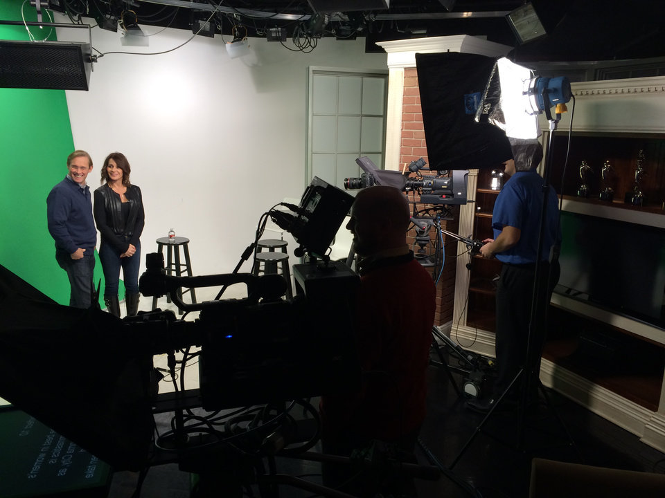 Photo -  Bart and Nadia doing commercial work in the OPUBCO Studios on the green screen.