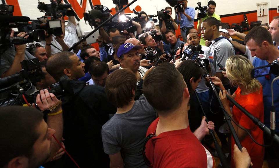 Oklahoma City's Russell Westbrook (0) listens to reporters question talks following the Oklahoma City Thunder practice at the Texas Military Institute in San Antonio, Tuesday, May 20, 2014. Photo by Sarah Phipps, The Oklahoman