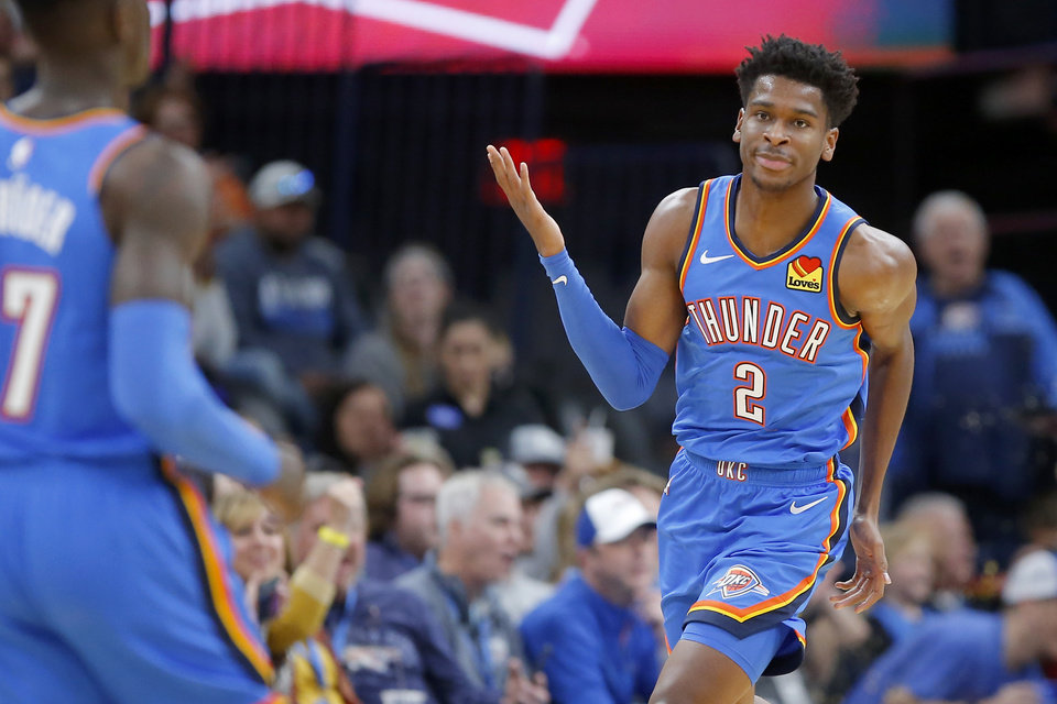 Photo - Oklahoma City's Shai Gilgeous-Alexander (2) reacts after a basket during an NBA basketball game between the Oklahoma City Thunder and the New Orleans Pelicans at Chesapeake Energy Arena in Oklahoma City, Saturday, Nov. 2, 2019. Oklahoma City won 115-104. [Bryan Terry/The Oklahoman]
