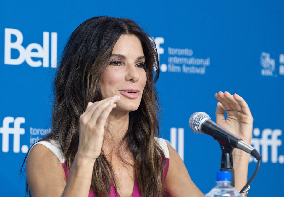 "Actress Sandra Bullock speaks during the press conference for ""Gravity"" at the 2013 Toronto International Film Festival in Toronto on Monday, Sept. 9, 2013. (AP Photo/The Canadian Press, Galit Rodan) ORG XMIT: GYR105"