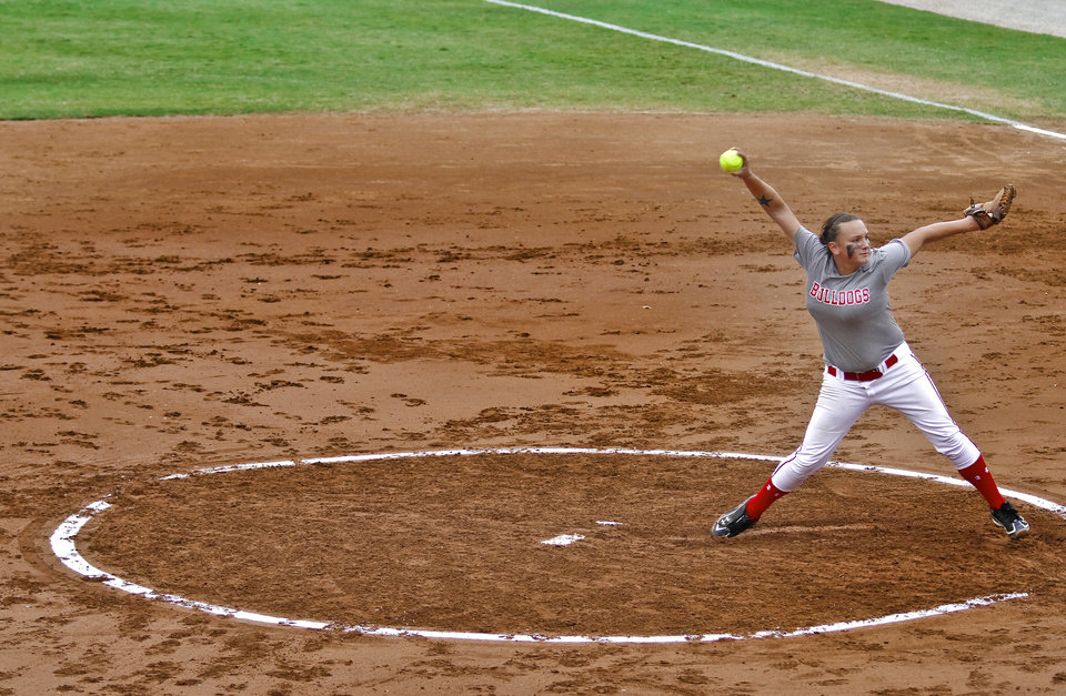 HIGH SCHOOL SOFTBALL TOURNAMENT: Sulphur\'s Sierra McCurry (16) throws a pitch during the Oklahoma State Softball tournament game between Washington and Sulphur at ASA Hall of Fame Stadium on Thursday, Oct. 4, 2012, in Oklahoma City, Okla. Photo by Chris Landsberger, The Oklahoman