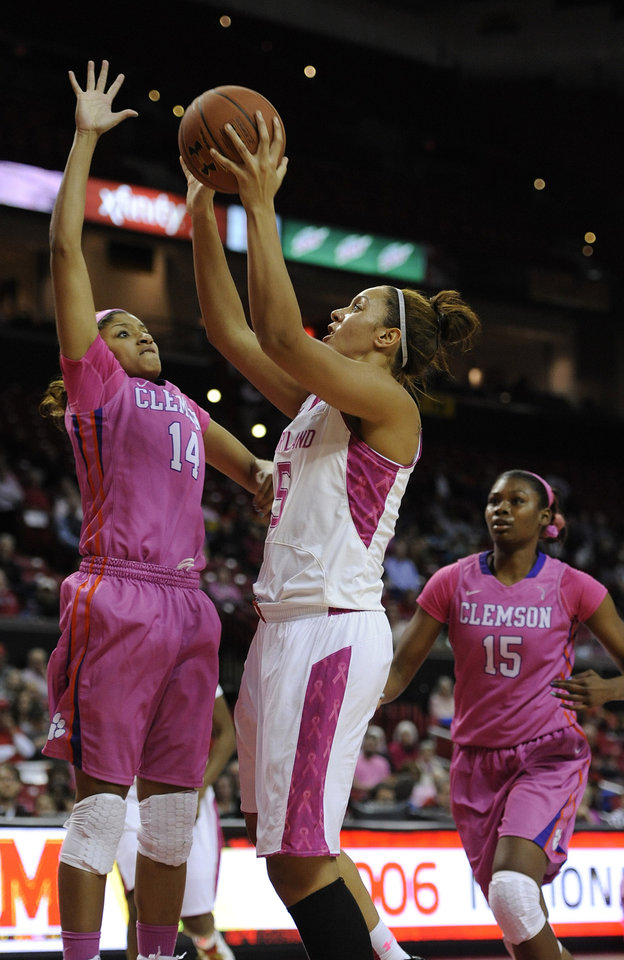 Photo - Maryland's Malina Howard, front right, shoots as Clemson's Paige Mosely (14) defends in the second half of an NCAA college basketball game on Sunday, Feb. 9, 2014, in College Park, Md. Maryland won 95-43. (AP Photo/Gail Burton)