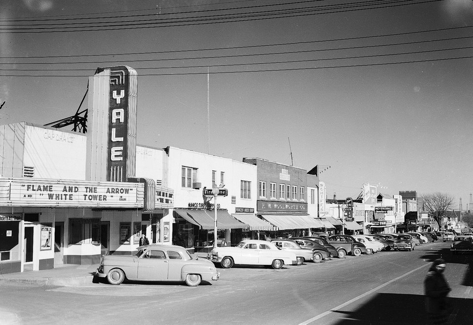 Photo -  The Yale Theater, shown in this 1951 photograph, was one of a handful of cinemas in what was a thriving Capitol Hill business corridor along SW 25 (also known as Commerce Street) through the 1970s. [Photo provided by the Oklahoma Historical Society]