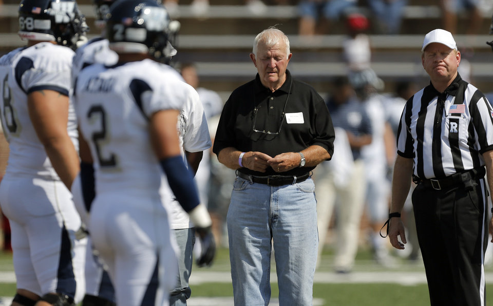 Mike Rollins participates in the coin toss before the college football game between the University of Central Oklahoma and Washburn at Wantland Stadium in Edmond, Okla., Saturday, Sept. 22, 2012.  Photo by Sarah Phipps, The Oklahoman
