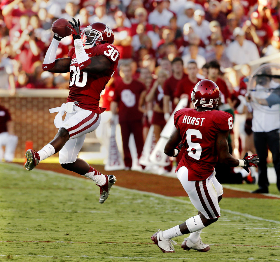 Javon Harris (30) intercepts a pass during the first half of the college football game between the University of Oklahoma Sooners (OU) and Florida A&M Rattlers at Gaylord Family—Oklahoma Memorial Stadium in Norman, Okla., Saturday, Sept. 8, 2012. Photo by Steve Sisney, The Oklahoman