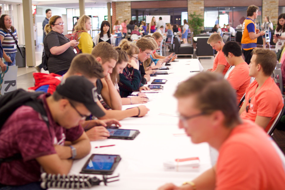 Photo -  Students had the opportunity to register as potential bone marrow donors at Oklahoma Christian University. [Photo by Whitney Hall]