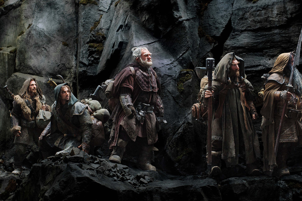 "This film image released by Warner Bros., shows, from left: Dean O'Gorman as Fili; Aidan Turner as Kili; Mark Hadlow as Dori; Jed Brophy as Nori; and William Kircher as Bifur, in a scene from the fantasy adventure ""The Hobbit: An Unexpected Journey."" AP Photo/Warner Bros <strong>Uncredited - AP</strong>"