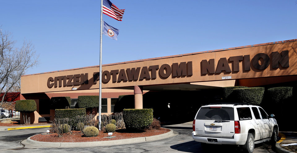 Photo - The entrance to Citizen Potawatomi Nation tribal headquarters at 1601 S. Gordon Cooper in Shawnee. John Barrett, chairman of the Citizen Potawatomi Nation tribe, spoke about  a threatening letter written by the mayor of Shawnee regarding allegations the tribe has failed to submit proper tax payments to the cityin an interview with The Oklahoman in the nation's headquarters Wednesday.  Jim Beckel - THE OKLAHOMAN