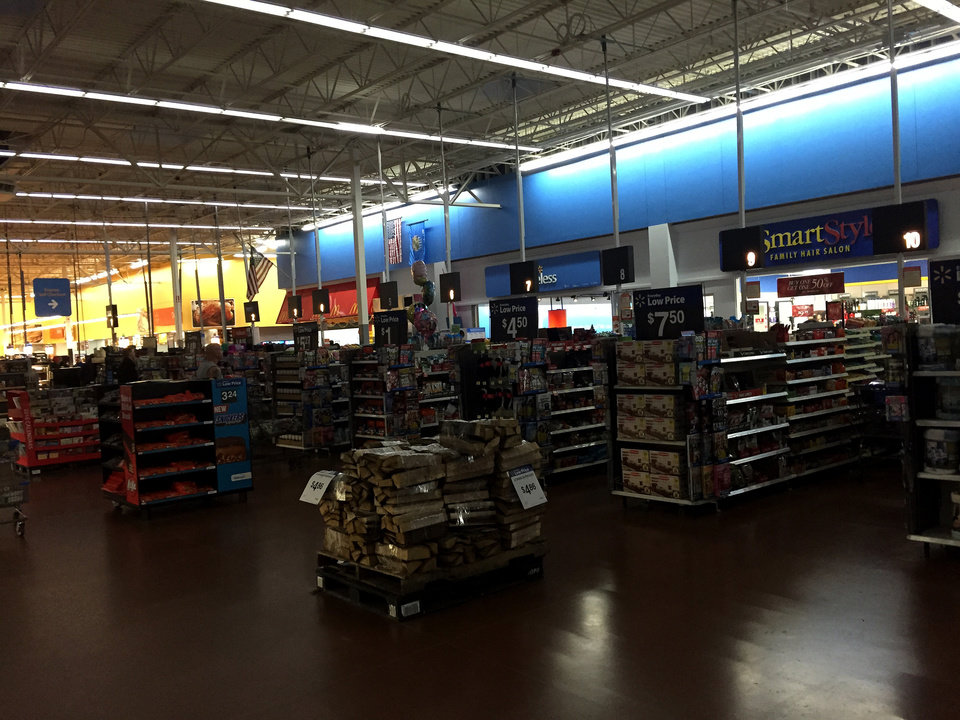 Photo - Walmart Super Center at I-35 and 15th Street in Edmond was operating on partial power earlyTuesday evening, December 29, 2015. Photo By Doug Hoke, The Oklahoman