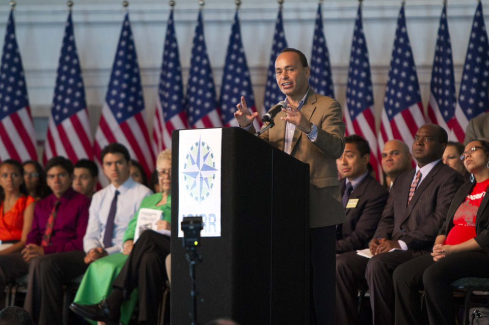 Photo -   Rep. Luis Gutierrez (D-IL) speaks at an event marking the start of start of the Obama administration's Deferred Action for Childhood Arrivals program on Wednesday, Aug. 15, 2012 at Navy Pier in Chicago. (AP Photo/Sitthixay Ditthavong)