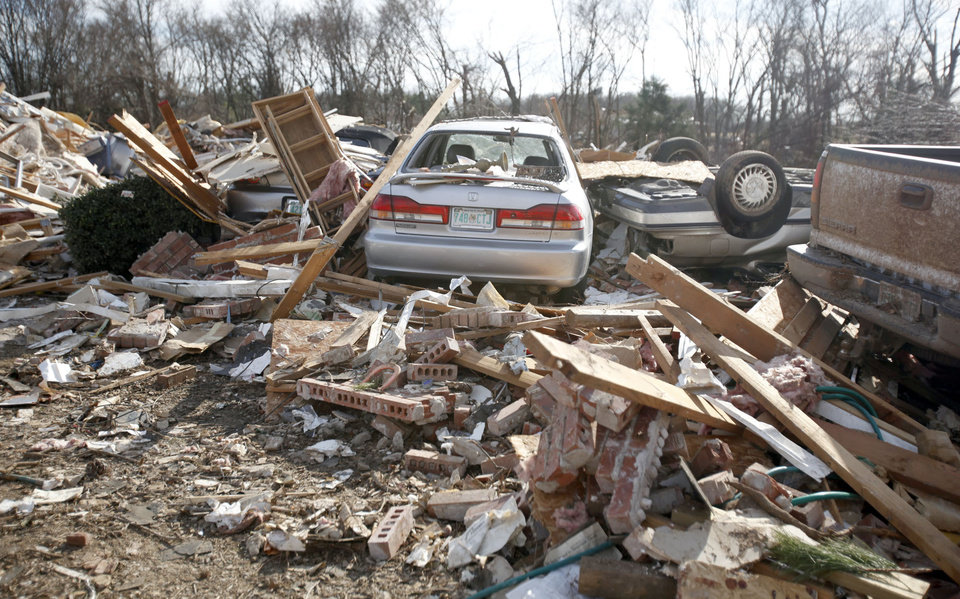 A home is seen damaged by a tornado in the Majestic Hills neighborhood north of Ardmore, Thursday, Feb. 12, 2009, PHOTO BY SARAH PHIPPS, THE OKLAHOMAN
