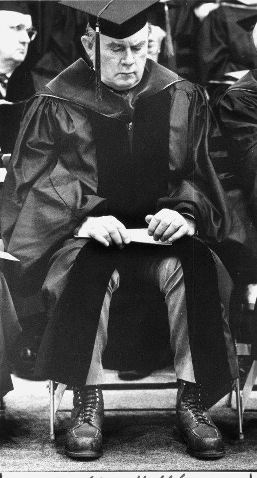 Gov. Henry Bellmon attends the inauguration of OSU president John Campbell  4/14/1989 Photo by Doug Hoke, The Oklahoman