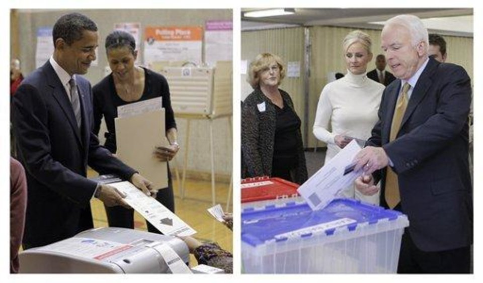 Photo - In this two picture combination, on the left, Democratic presidential candidate Sen. Barack Obama, D-Ill., left, and his wife Michelle, cast their votes at a polling place in Chicago; and on the right, Republican presidential candidate Sen. John McCain, R-Ariz., accompanied by his wife Cindy, votes in the 2008 presidential election at the Albright United Methodist Church in Phoenix. (AP Photo/Jae Hong, Stephan Savoia)