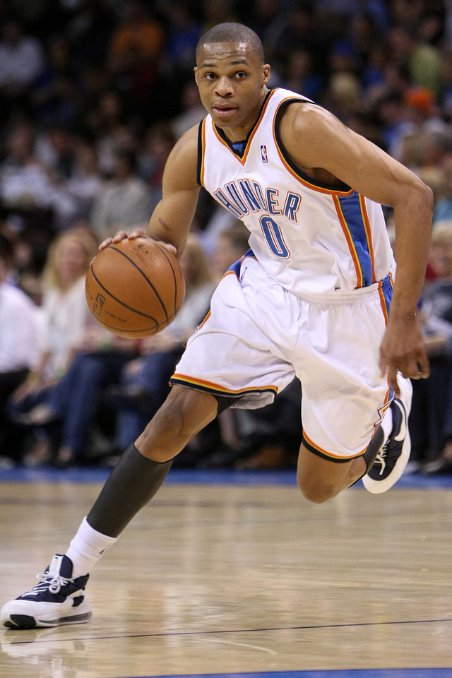 Photo - OKLAHOMA CITY THUNDER / PORTLAND TRAIL BLAZERS / NBA BASKETBALL  Oklahoma City's Russell Westbrook during the Thunder - Portland game April 3, 2009 in the Ford Center in Oklahoma City.    BY HUGH SCOTT, THE OKLAHOMAN ORG XMIT: KOD