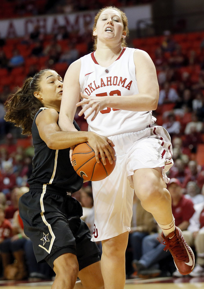 Vanderbilt\'s Elan Brown (30) steals the ball from OU\'s Joanna McFarland (53) in the first half during a women\'s college basketball game between the University of Oklahoma Sooners and the Vanderbilt Commodores at Lloyd Noble Center in Norman, Okla., Sunday, Dec. 16, 2012. Photo by Nate Billings, The Oklahoman