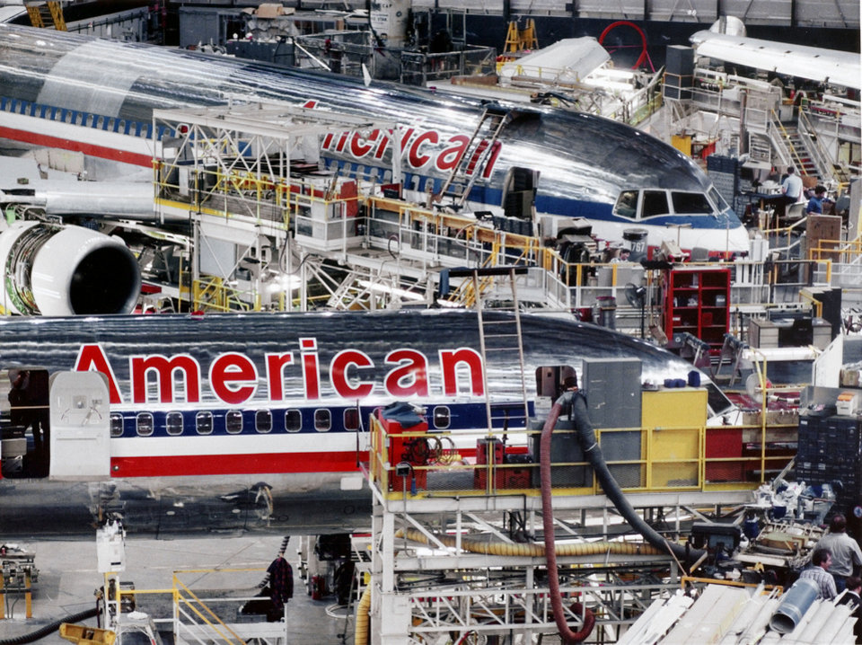 """American Airlines brings its fleet from across the nation to its mainteance and repair facility in Tulsa.  The facility, and its international reservations center, at one time employed some 12,000 people with an annual payroll of $400 million."" Staff photo by Jim Argo <strong>Jim Argo - The Daily Oklahoman</strong>"