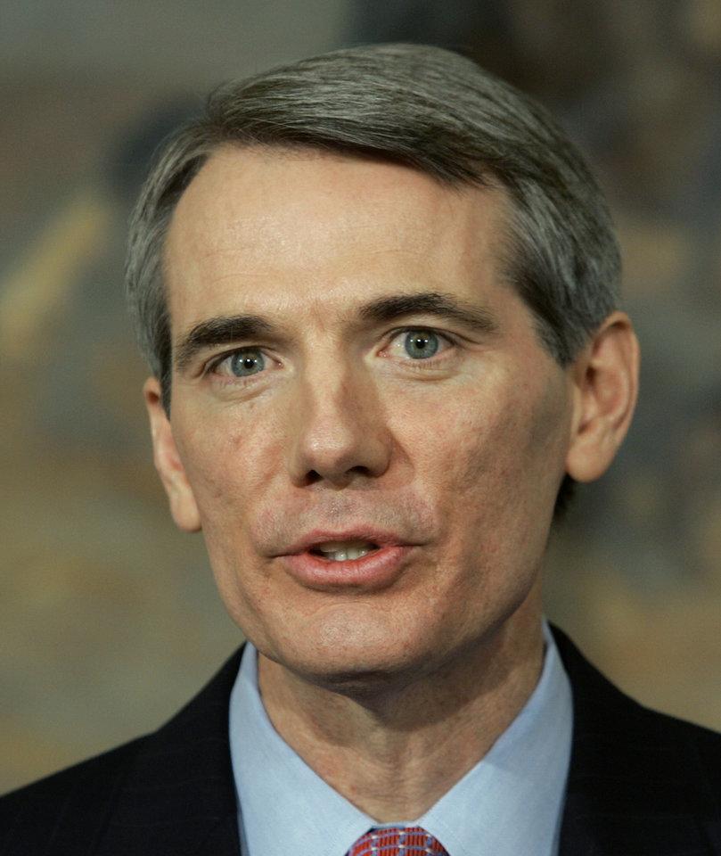 FILE - Ohio Congressman Rob Portman, a Republican, speaks in the Roosevelt Room of the White House in Washington, in this March 17, 2005 file photo. Portman said Thursday March 14, 2013 that he now supports gay marriage because one of his sons is gay. (AP Photo/J. Scott Applewhite, File)