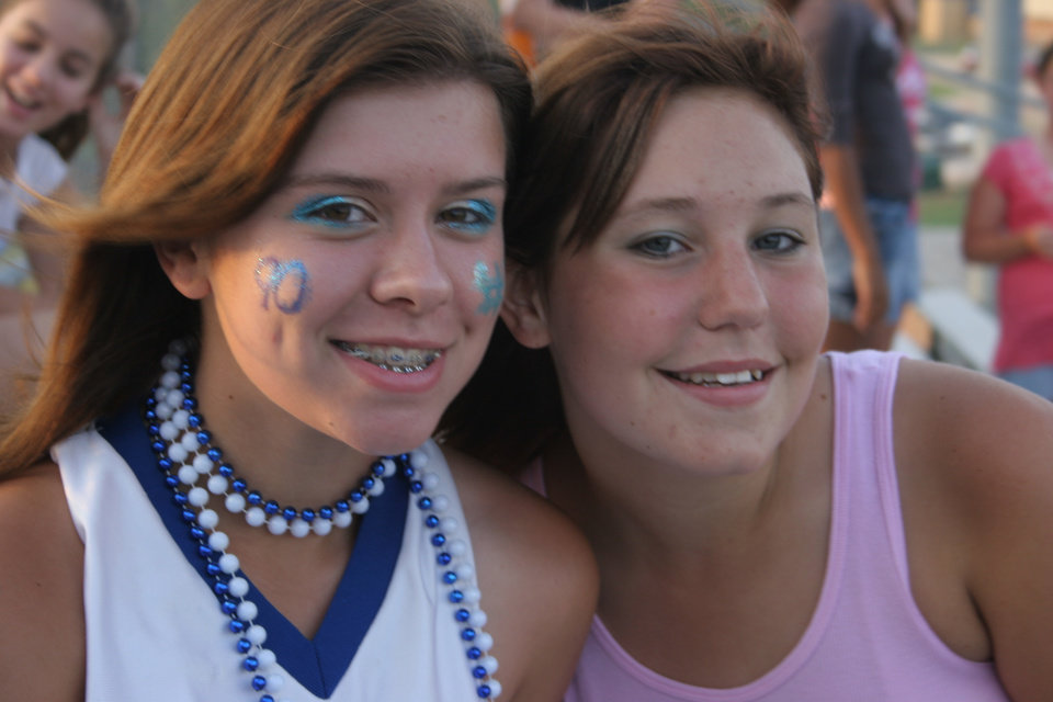 Katy Farmer(14), Chelsea Dockemeyer(14), spirit day first freshman football game for Choctaw. Community Photo By: Janna McCoy Submitted By: Janna, Choctaw
