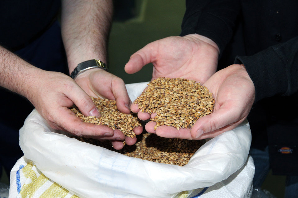 Photo - In this undated photo provided by Green Flash Brewing Co., Alexis Briol of Brasserie St-Feuillien in Belgium, left, and Green Flash brewmaster Chuck Silva, inspect a bag of malted barley before brewing beer. San Diego-based Green Flash is making and selling fresh beer in the European market under a handshake deal with Brasserie St-Feuillien. Some of the nation's largest craft breweries are setting up shop in European countries famous for defining age-old beer styles to help quench a growing thirst for American craft beer overseas. (AP Photo/Green Flash Brewing Co.)