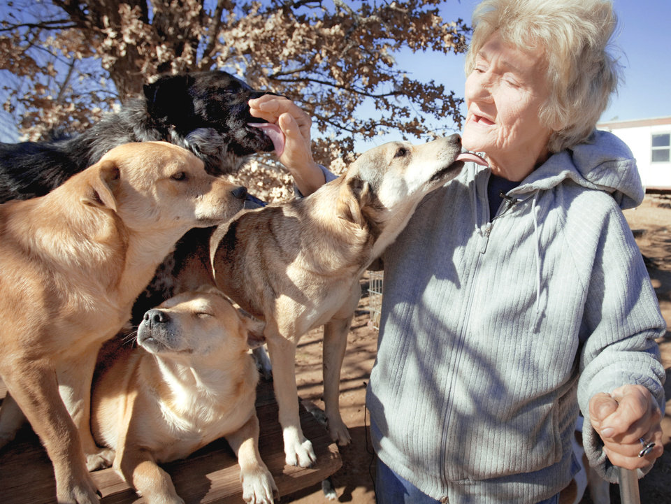 Photo - Catherine Titus gets attention as she sits Tuesday with a few of the 100-plus dogs she cares for in Wilson. PHOTOS BY CHRIS LANDSBERGER, THE OKLAHOMAN