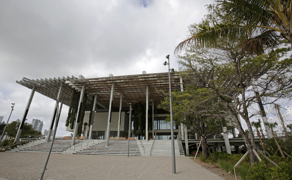 """Photo - This Thursday, April 17 2014 photo shows the Perez Art Museum Miami in Miami. """"Caribbean: Crossroads of the World,"""" a survey of Caribbean art and history that debuted at three New York City museums two years ago, opens Friday at the Perez. (AP Photo/Alan Diaz)"""