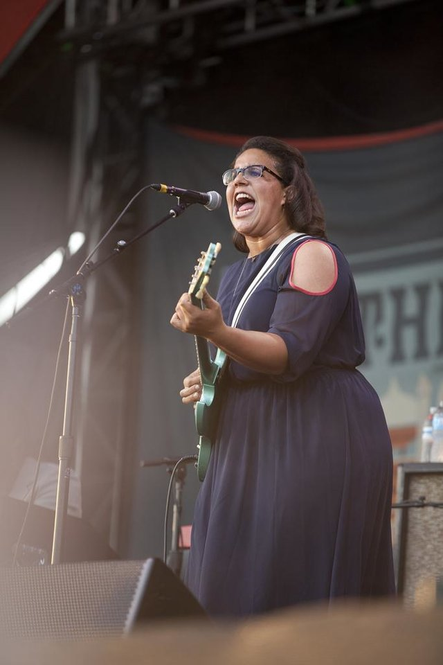 Photo - Brittany Howard, singer for The Alabama Shakes, performs accompanied by her band at the Gentlemen of the Road Festival in Guthrie, Okla., Saturday, Sept. 7, 2013.  Nathan Poppe, For The Oklahoman