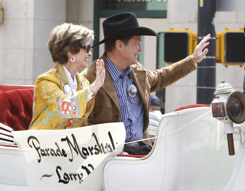 Larry and Polly Nichols ride in the 89ers Day Parade in Guthrie, OK, Saturday, April 20, 2013,  By Paul Hellstern, The Oklahoman