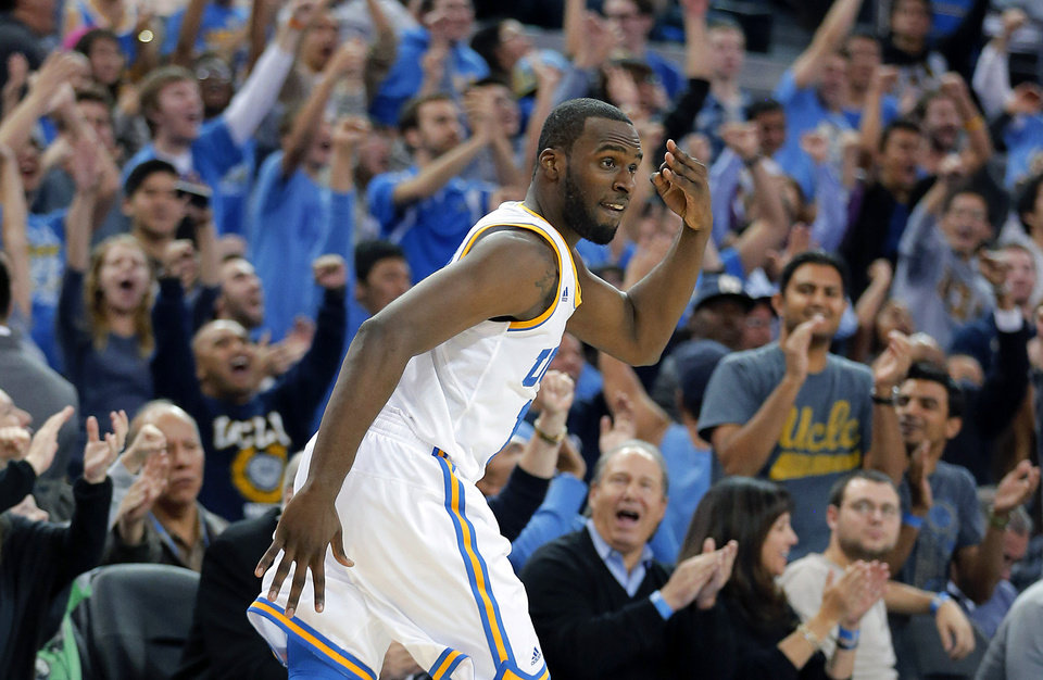 UCLA\'s Shabazz Muhammad reacts after making a 3-point shot against Missouri in overtime of an NCAA college basketball game in Los Angeles, Friday, Dec. 28, 2012. UCLA won 97-94 in overtime. (AP Photo/Jae C. Hong)