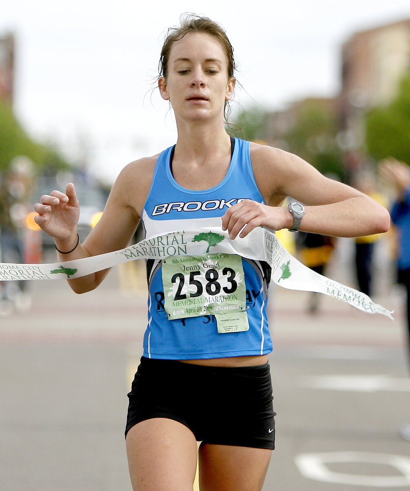 Women's marathon winner Jennifer Graef crosses the finish line during the Oklahoma City Memorial Marathon, Sunday, April 27, 2008.  BY BRYAN TERRY, THE OKLAHOMAN
