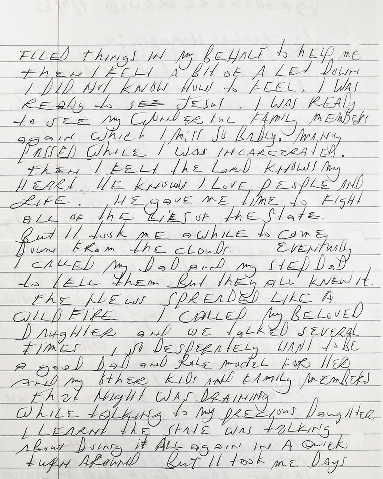 Photo - letter to Graham Brewer from Charles Warener shot in the OPUBCO studio in Oklahoma City, Okla. on Wednesday, Jan. 21, 2015.  Photo by Chris Landsberger, The Oklahoman