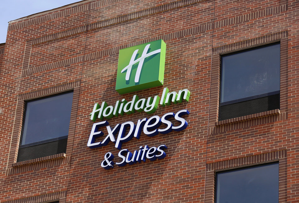 Photo -  The Holiday Inn Express sign on the new Bricktown hotel is pictured.    Jim Beckel -  THE OKLAHOMAN