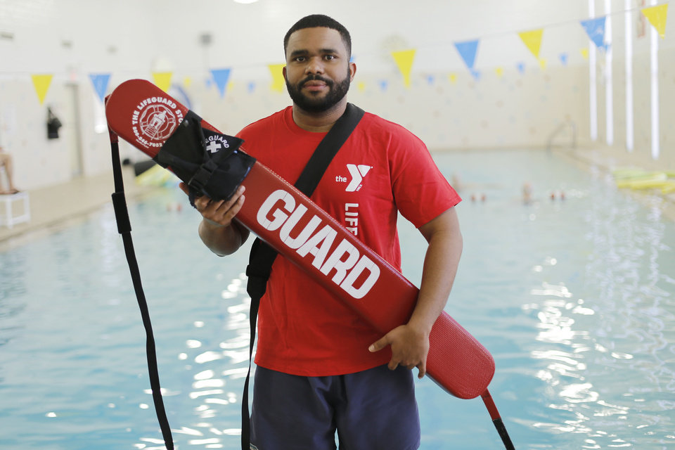 YMCA lifeguard instructor Willie Bowens is seen at the Northside YMCA pool.  Photo by Doug Hoke, The Oklahoman
