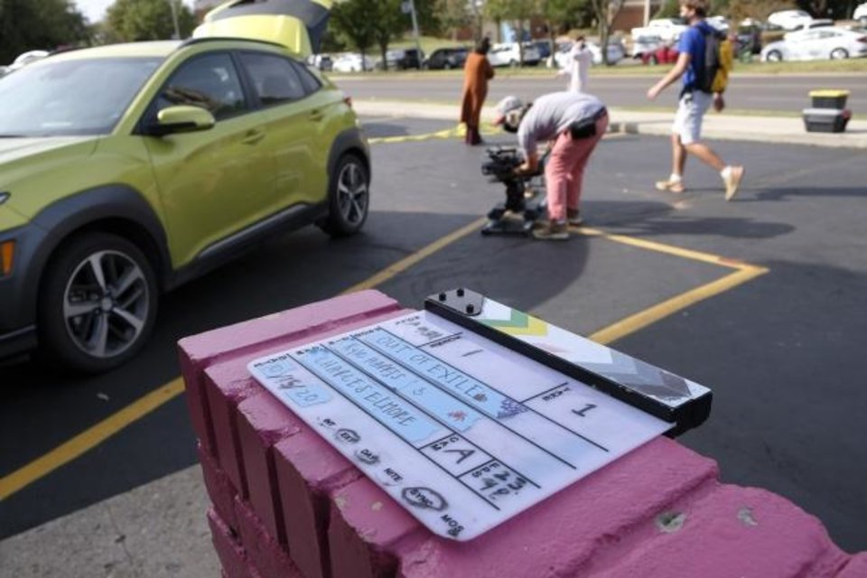 Photo -  Crew members work on the set of the Oklahoma film