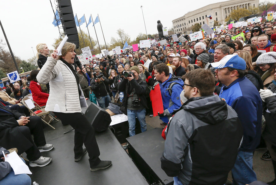 Photo - Randi Weingarten, president of the American Federation of Teachers, speaks during a rally and walkout by Oklahoma teachers at the state Capitol in Oklahoma City, Monday, April 2, 2018. Photo by Nate Billings, The Oklahoman