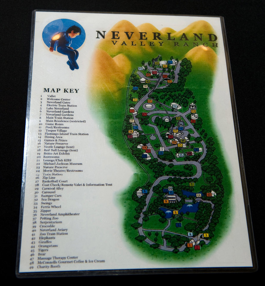 Photo - FILE - This Nov. 17, 2009 file photo shows Michael Jackson's Neverland ranch map at Julien's Music Icons Auction at the Hard Rock Cafe during a preview in New York. Jackson's playtime palace sits empty now. The backyard circus and laughter of children are long gone, but the house and its fanciful memories live on. (AP Photo/Charles Sykes, file)
