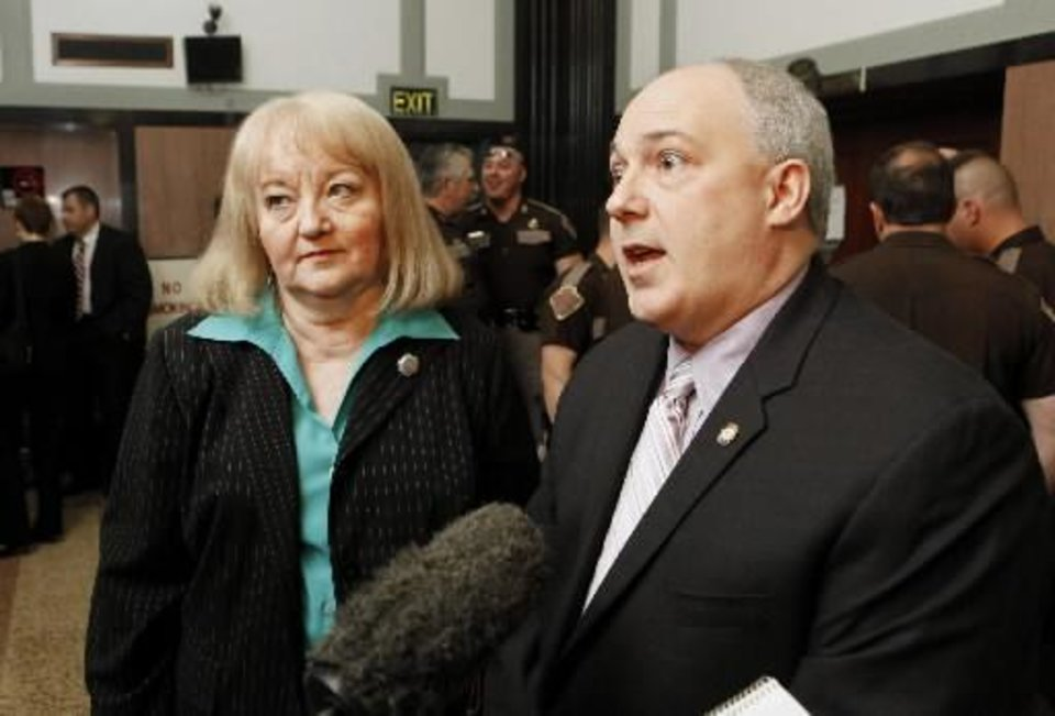 2010 file photo of Sen. Debbe Leftwich, D-Oklahoma City, and Rep. Randy Terrill, R-Moore by Paul B. Southerland