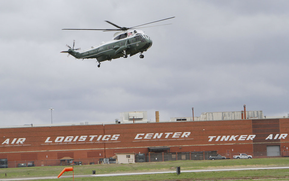 Photo - President Barack Obama arrives at Tinker Air Force Base on Marine One, Thursday,  March 22, 2012.  Photo By David McDaniel/The Oklahoman