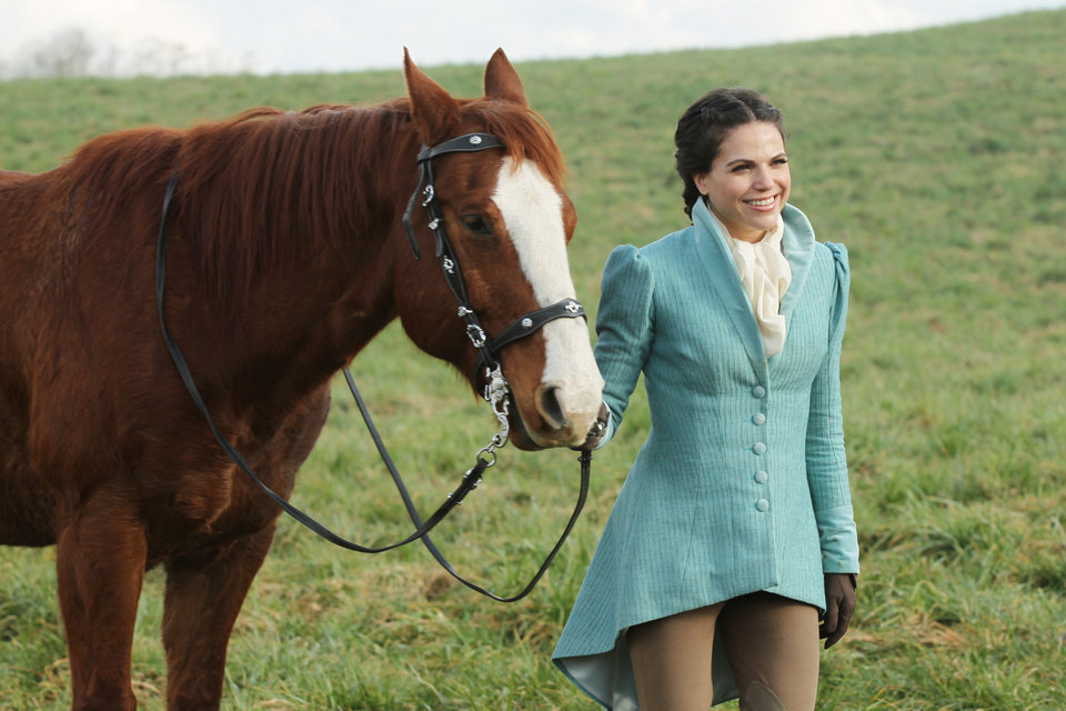 "ONCE UPON A TIME - ""The Stable Boy"" - Emma continues her exhaustive search for evidence that will prove Mary Margaret's innocence in the murder of David's wife, Kathryn.  Meanwhile, in the fairytale land that was and before evil blackened her soul, Regina must choose between betraying her mother, Cora (Barbara Hershey), and marrying for true love, or betrothing royalty and living a regal - but loveless - life; and the event that caused the Evil Queen to loathe Snow White is revealed, on ""Once Upon a Time,"" SUNDAY, APRIL 1 (8:00-9:00 p.m., ET) on the ABC Television Network. (ABC/JACK ROWAND) LANA PARRILLA"