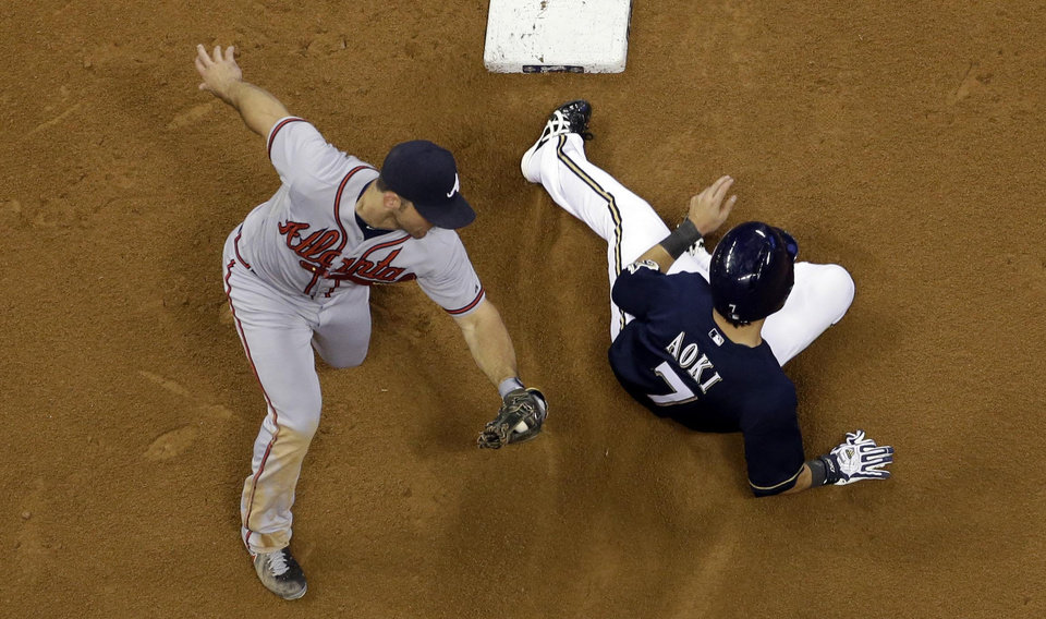 Milwaukee Brewers' Norichika Aoki (7) steals second with Atlanta Braves second baseman Dan Uggla covering during the seventh inning of a baseball game on Friday, June 21, 2013, in Milwaukee. (AP Photo/Morry Gash)