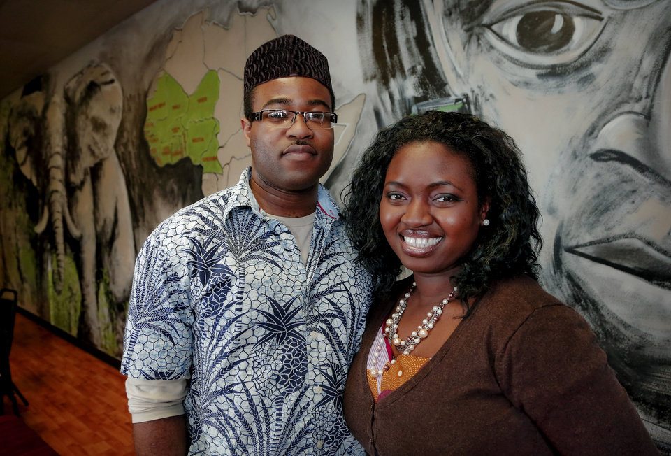 Andrew and Ijeoma Popoola are the owners of Mama Sinmi's Chop House, which specializes in West African cuisine. Photo by Chris Landsberger, The Oklahoman <strong>CHRIS LANDSBERGER - CHRIS LANDSBERGER</strong>