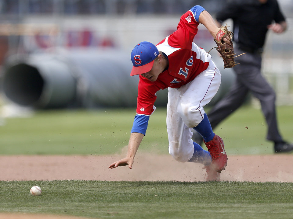Silo's Leonard Sandler fields the ball in the third inning against Caney Valley during a Class 2A state baseball tournament game in Shawnee, Okla., Friday, May 10, 2013. Photo by Bryan Terry, The Oklahoman