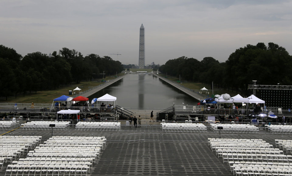 Before the crowds arrive the Washington Monument and the Reflecting Pool are seen as media prepares for Let Freedom Ring ceremony on the steps of the Lincoln Memorial in Washington, Wednesday, Aug. 28, 2013, to commemorate the 50th Anniversary of the 1963 March on Washington for Jobs and Freedom. (AP Photo/Carolyn Kaster)