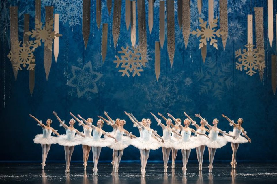 Photo - Oklahoma City Ballet dancers appear in the snowflake scene from The Nutcracker which will be performed on December 14-22. [KATE LUBER]