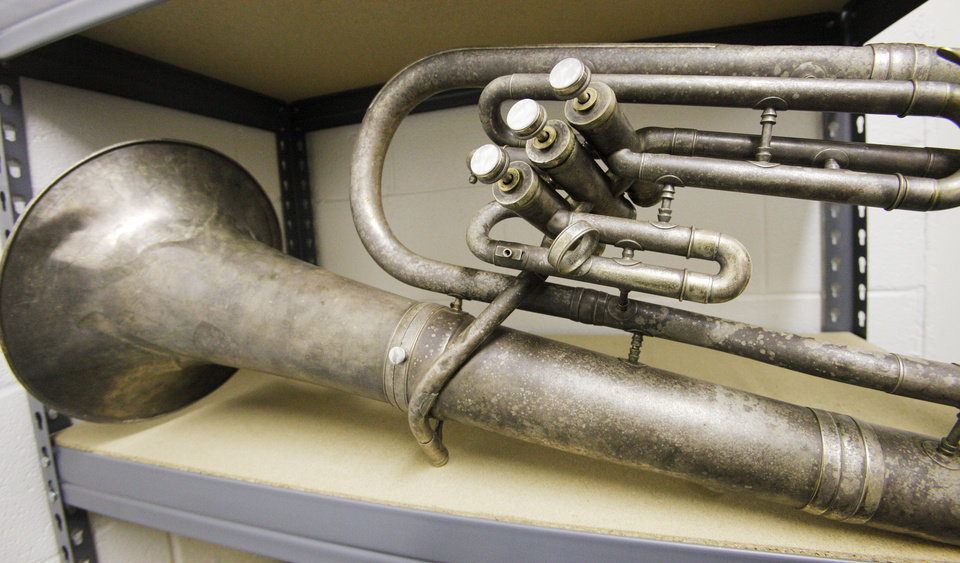A euphonium is one of the instruments in need of repair work the band program at Santa Fe South Schools in Oklahoma. The program still needs about 25 more instruments to meet high enrollment. PAUL B. SOUTHERLAND - THE OKLAHOMAN