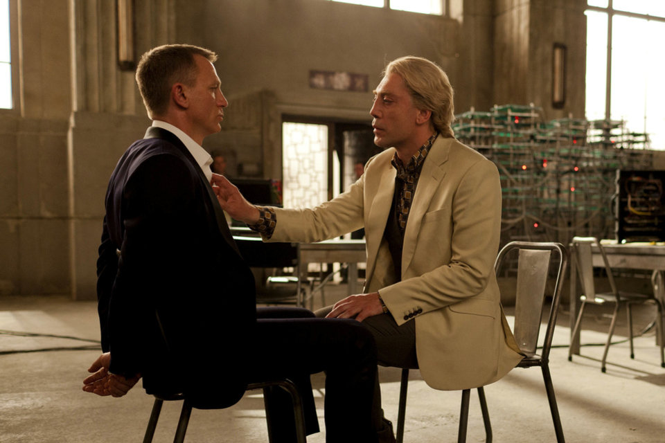 "This film image released by Sony Pictures shows Daniel Craig, left, and Javier Bardem in a scene from the film ""Skyfall."" Bardem portrays, Raoul Silva, one of the finest arch-enemies in the 50-year history of Bond films. (AP Photo/Sony Pictures, Francois Duhamel) ORG XMIT: NYET115"