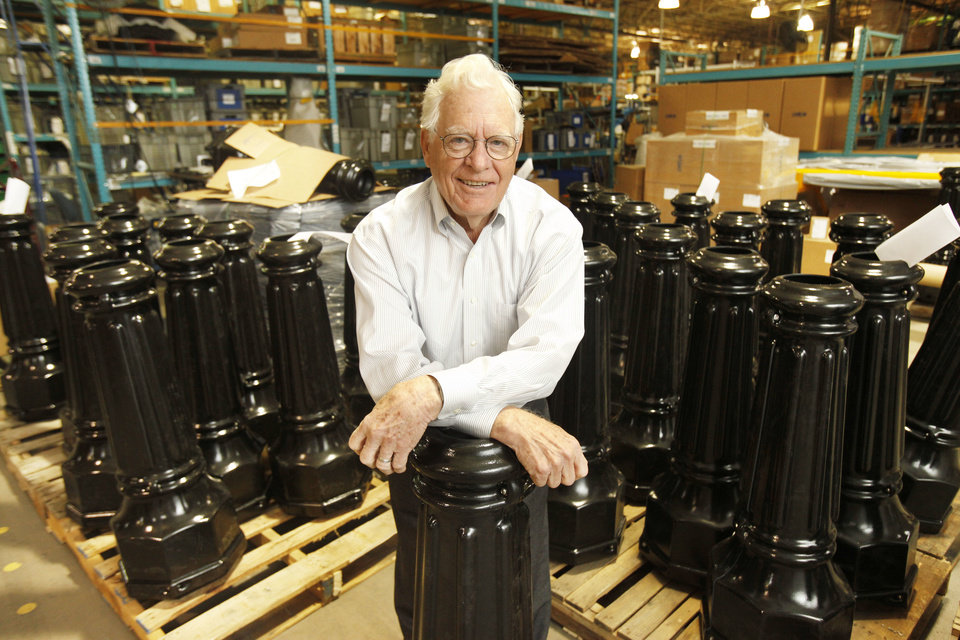Pelco co-founder Phil Parduhn shows some of the company's products at the Pelco facility in Edmond, OK, Friday, December 14, 2012,  By Paul Hellstern, The Oklahoman