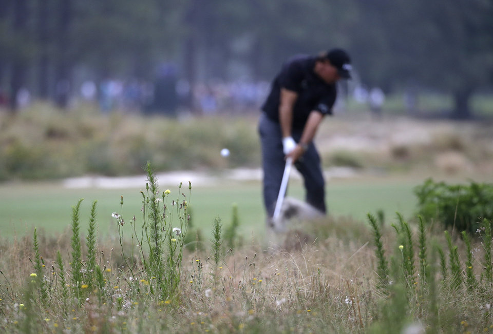 Photo - Phil Mickelson hits out of the native area on the 13th hole during the first round of the U.S. Open golf tournament in Pinehurst, N.C., Thursday, June 12, 2014. (AP Photo/David Goldman)