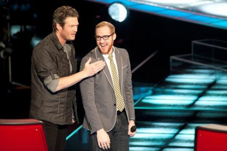 Photo -  THE VOICE -- Episode 103/104 -- Pictured: (l-r) Blake Shelton, Tyler Robinson -- Photo by: Lewis Jacobs/NBC