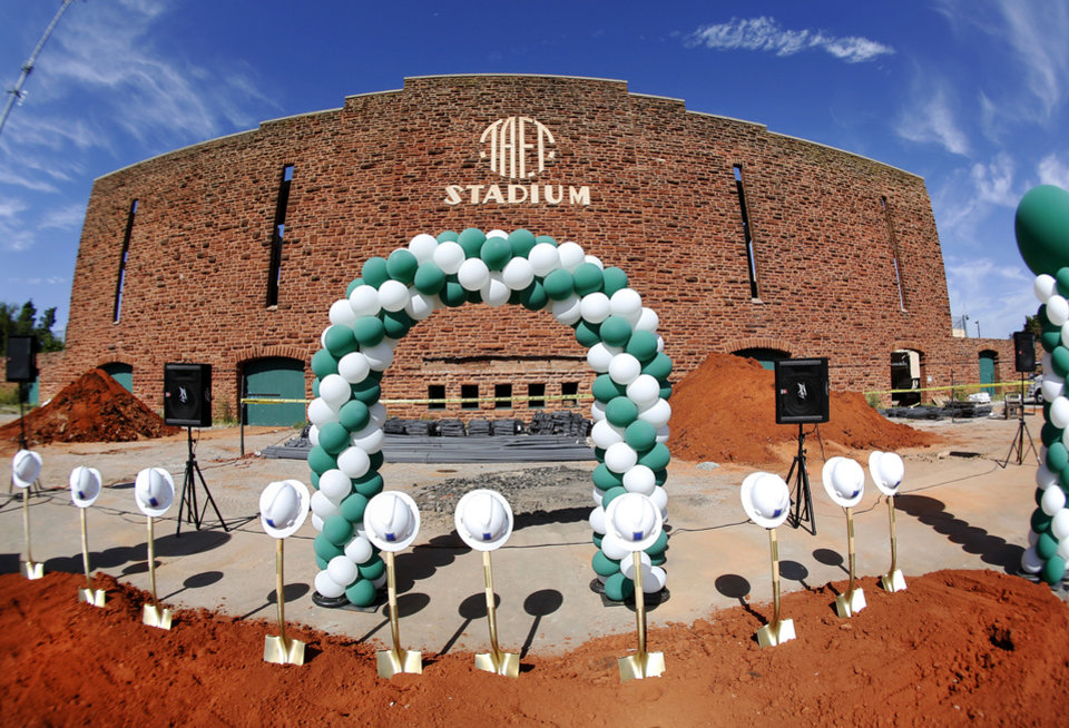 Photo - There's a groundbreaking ceremony at Taft Stadium on Aug. 28 for the work being done to rebuild it. Photo  by Jim Beckel, The Oklahoman.  Jim Beckel